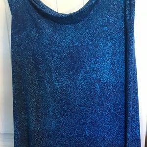 LuLaRoe 2X Blue Fold Over Waist Maxi Skirt